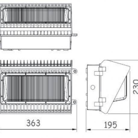 LS Series Wall Pack B Dimensions